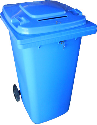 Our blue lockable bins.