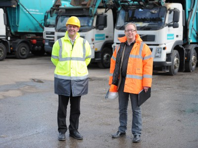Premier Waste employees providing total on site waste management services.